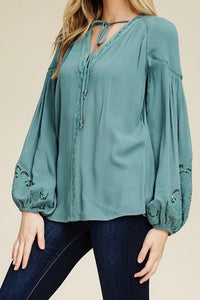 Beautifully Embroidered Woven Blouse w/Lace Detail
