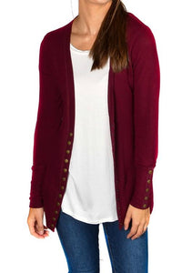 Solid Color High-End Snap Cardigan in Winter Berry