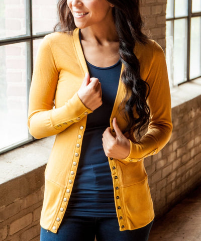 Solid Color High-End Snap Cardigan in Mustard