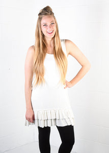 Amazing Ruffle Tank in Off White