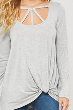 Heather Grey Knit Top w/Cage Neck and Side Knot