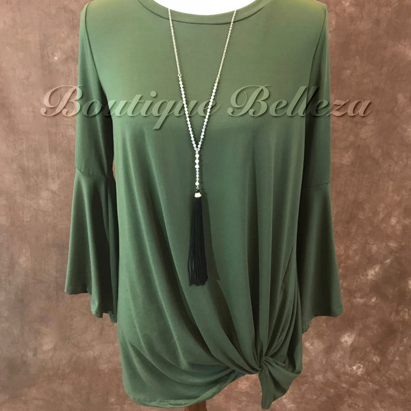 Olive Bell Sleeve Knit Top with Front Knot