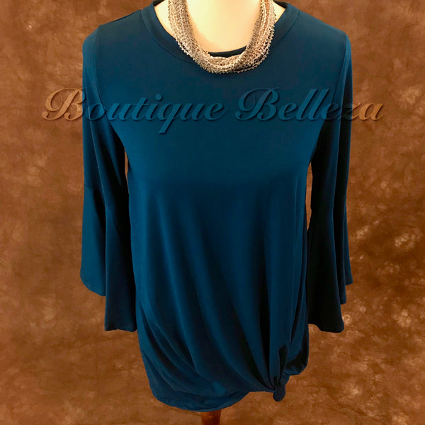 Turquoise Bell Sleeve Knit Top with Front Knot