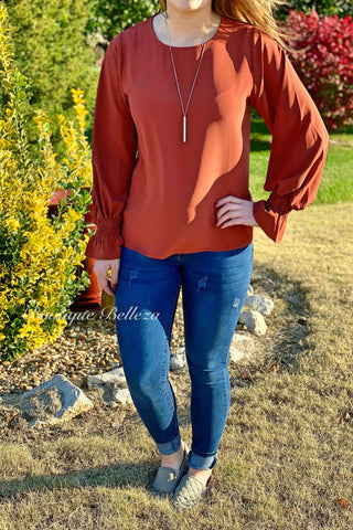 Bubble Sleeve Blouse in Rust