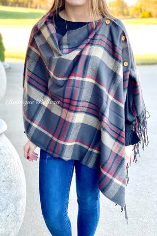 Button Shawl in Grey Plaid