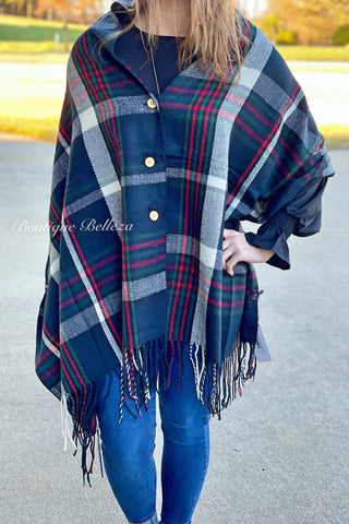 Button Shawl in Navy Plaid