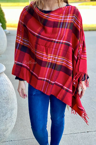 Button Shawl in Red Plaid