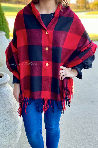 Button Shawl in Red Buffalo
