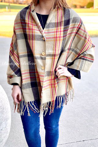 Button Shawl in Beige Plaid