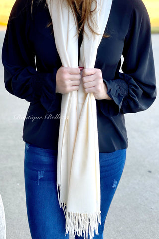 BB Cashmere Blend Scarf in Ivory