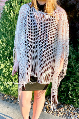 BB Silver Crocheted Poncho with Fringe