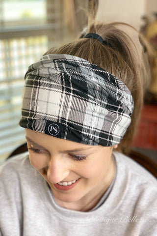 Black Plaid Peek-A-Boo Beanie