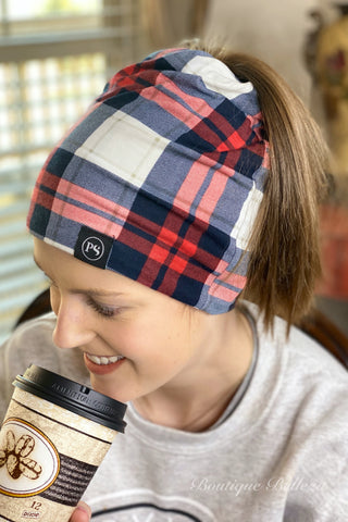 Red and Blue Plaid Peek-A-Boo Beanie