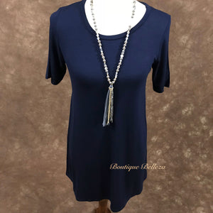 Navy Short Sleeve Long Body Knit Top