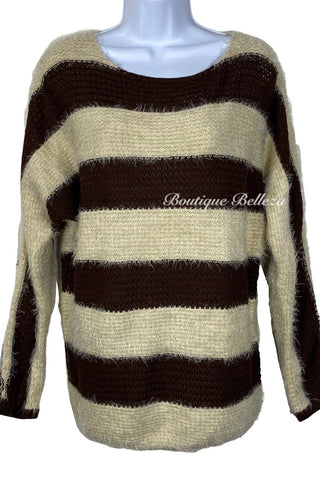 Silky Soft and Fuzzy Brown and Cream Sweater