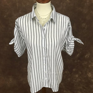 Black and White Button Down with Tie Short Sleeves
