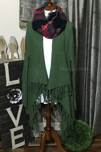 Fringed Fly Away Olive Cardigan Sweater