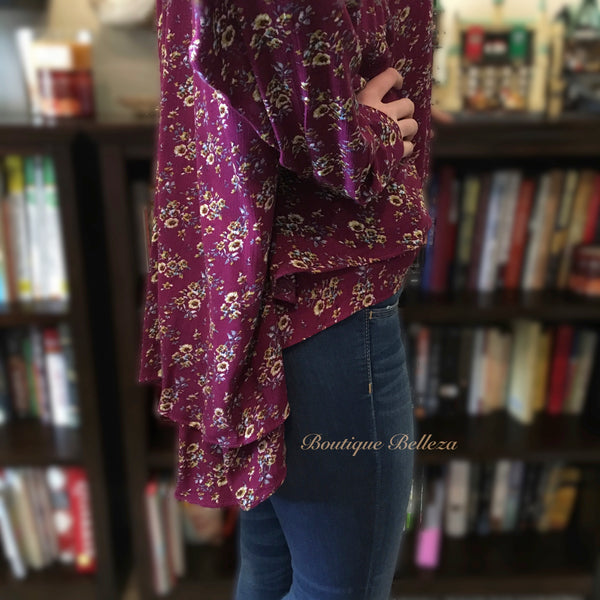 Berry Floral Blouse with Ruffled High Low Hem