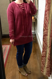 Lace Up Sweater in Plum