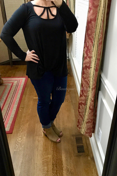 Black Knit Top with Cage Neck and Side Knot