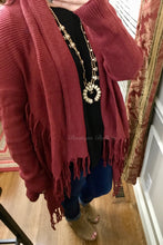 Fringed Fly Away Rust Cardigan Sweater