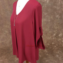 Semi-Sheer Burgundy Rolled Sleeve Missy V-Neck Tunic