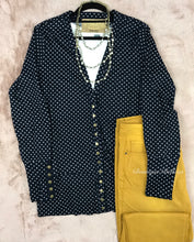 Navy w/ White Dot High-End Snap Cardigan