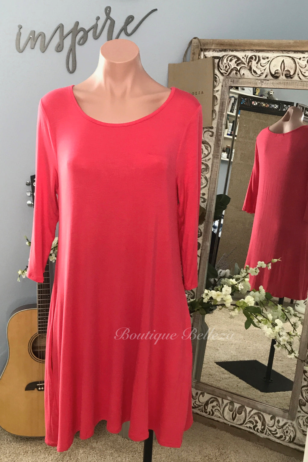 3/4 Sleeve Knit Tunic Dress With Pockets in Coral