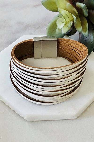 White Stacked Leather Bracelet