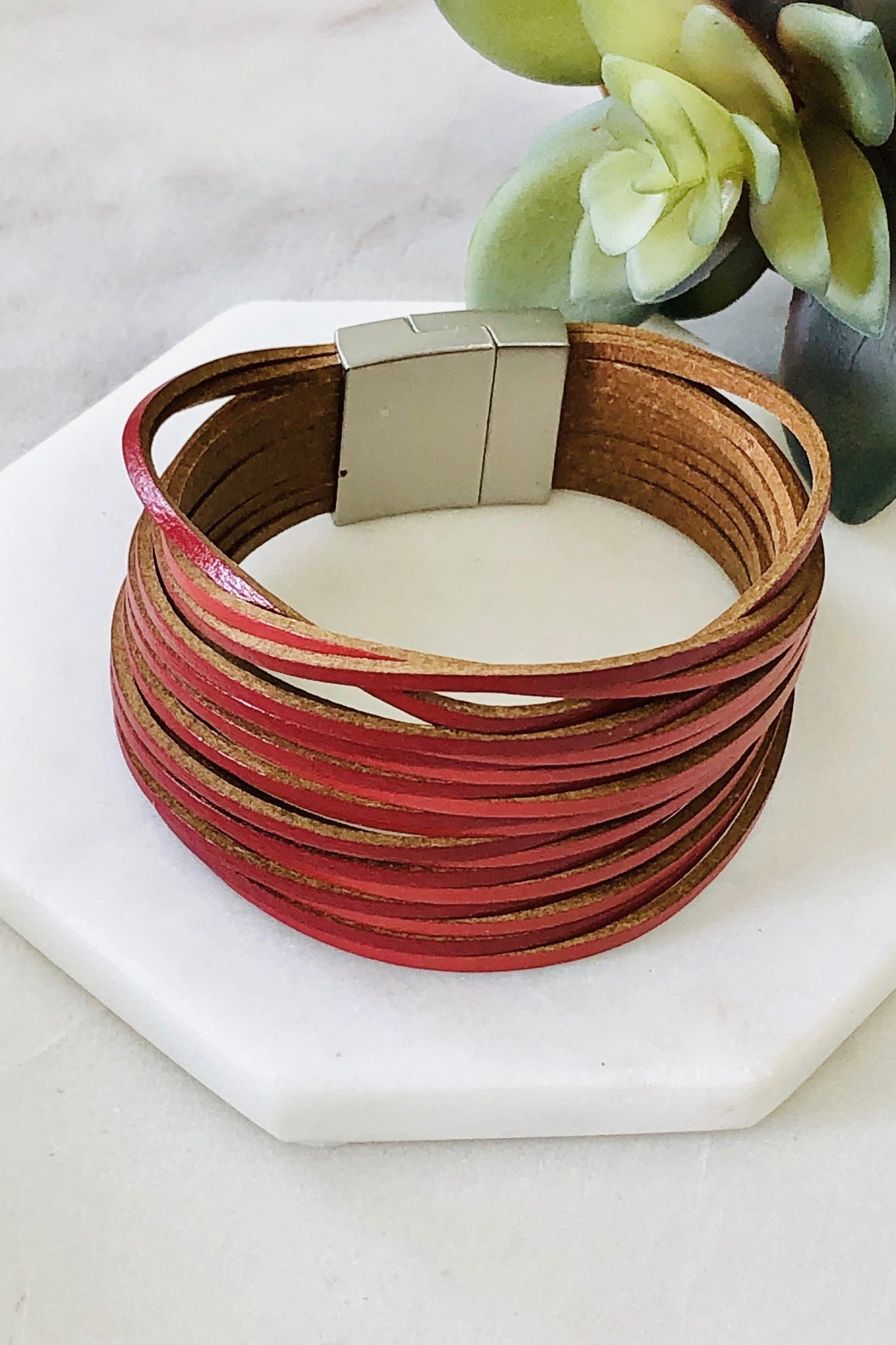 Red Stacked Leather Bracelet