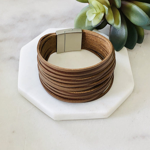 Brown Stacked Leather Bracelet