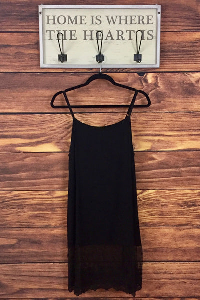 Black Top Extender with Lace Bottom