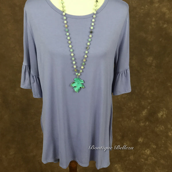 Lavender Plus Size Knit Top With Mini Bell Sleeves