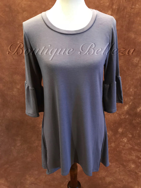 Favorite 3/4 Bell Sleeve Tunic in Grey