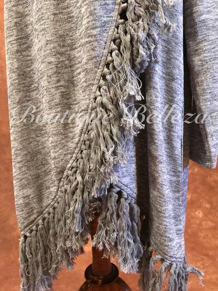 Fringed Grey Crossover Cowl Neck Sweater