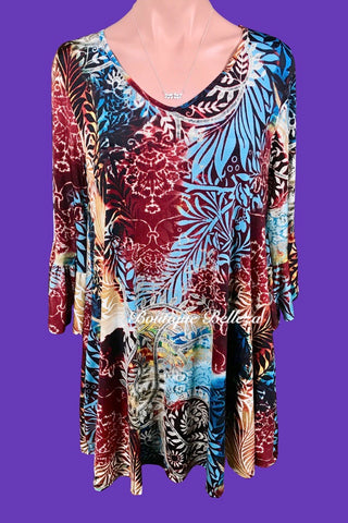 Leaf Print Tunic/Dress With Ruffle Sleeves and Pockets