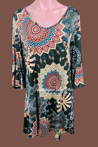 Geo Print Ruffle Sleeve Dress/Tunic in Olive