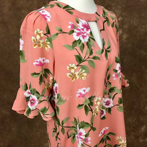 Peach Floral Print Top with Keyhole Cutout and Bell Sleeves