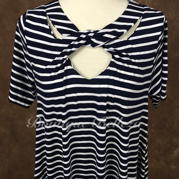Navy/Ivory Striped Dress with Pockets