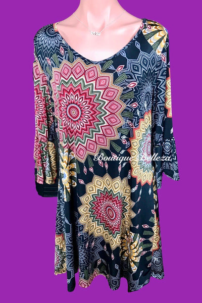 Geo Print Ruffle Sleeve Dress/Tunic in Black
