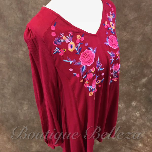 Burgundy V-Neck Tunic with Floral Embroidery and Back Cutout