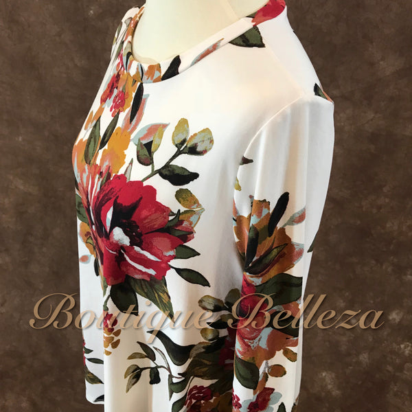 Floral Print Asymmetric Top