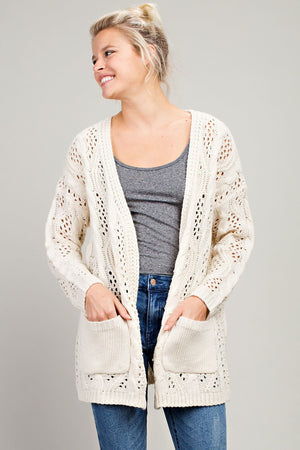 Oversized Crochet Cardigan in Cream