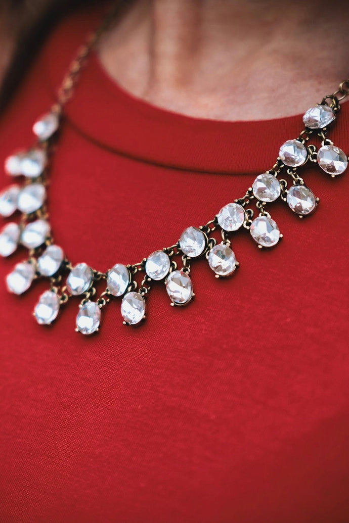 Double Row Rhinestone Crystal Necklace