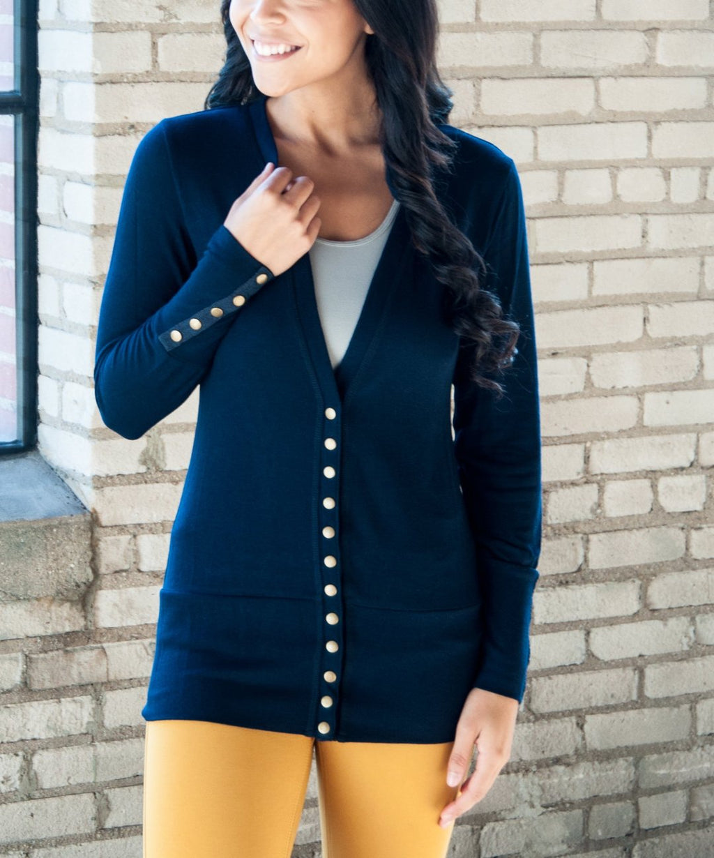 Solid Color High-End Snap Cardigan in Navy