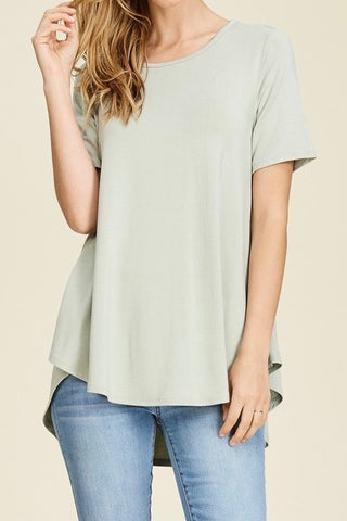 Short Sleeve Knit Top with Hi-Low Hem in Sage