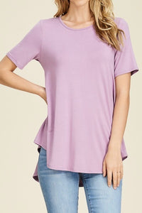 Short Sleeve Knit Top with Hi-Low Hem in Lavender