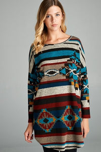 Teal And Burgundy Aztec Tunic