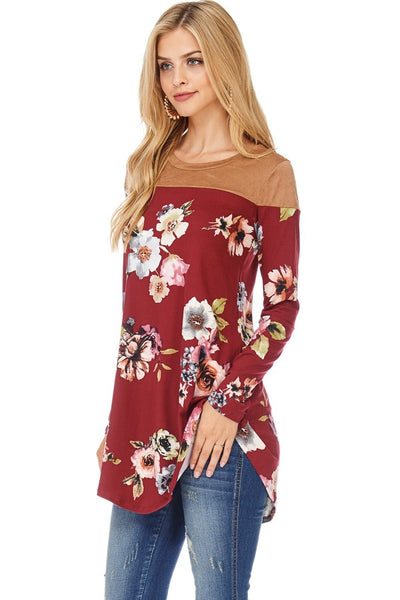 Burgundy Floral Tunic Top with Suede Shoulders