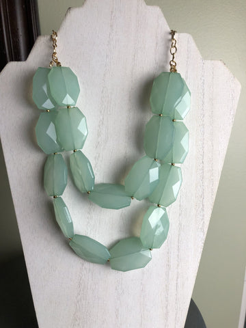 Double Strand Statement Necklace in Mint